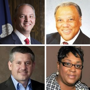 Top row: Gov. John Bel Edwards and Clerk of Court Arthur Morrell; bottom row: Shane Riddle and Arlanda J. Williams. (sources: Office of the Governor, Orleans Clerk of Court, Louisiana Association of Educators, Terrebonne Parish government)