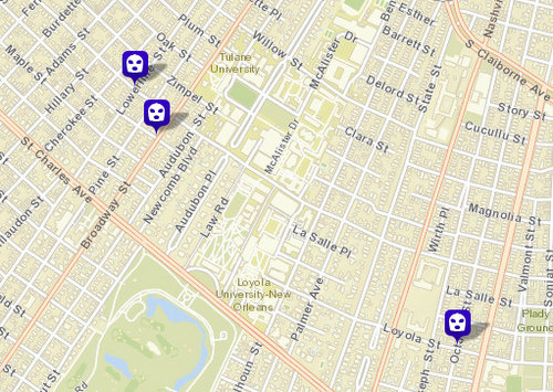 Three armed robberies reported in the university area, police say. (map via NOPD)