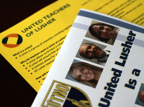 Informational pamphlets passed out by members of the United Teachers of Lusher union on Tuesday night at a meeting with parents. (Robert Morris, UptownMessenger.com)
