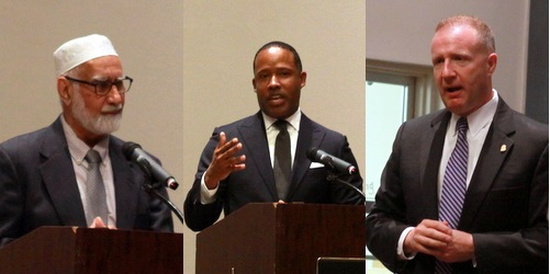 From left,  Imam Mubasher Ahmed of the Ahmadiyya Muslim Community, U.S. Attorney Kenneth Polite, and  Jeffery Sallet, Special Agent in Charge of the FBI New Orleans, all spoke Tuesday night at Loyola University. (Robert Morris, UptownMessenger.com)