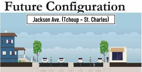 A rendering of the new configuration of Jackson Avenue through the Garden District, after a repaving project scheduled to start later this year. (via city of New Orleans)