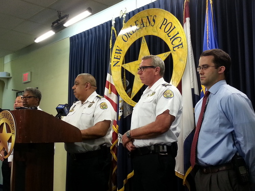 NOPD Superintendent Michael Harrison, Commander Doug Eckert and Sgt. Andrew Waldron discuss the May 7 fatal shooting of Thomas Rolfes in a Monday afternoon news conference. (Robert Morris, UptownMessenger.com)