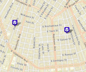 Carjacking on South Miro; attempted armed robbery on State Street Drive. Not shown: armed robbery on Felicity. (map via NOPD)
