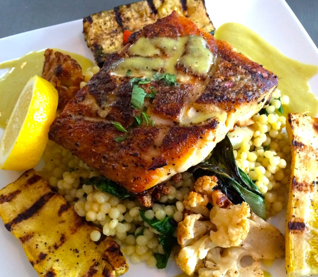 Pan-Seared Red Snapper over Israeli Couscous, Grilled Vegetables and Basil-Lime Vinaigrette (Kristine Froeba)