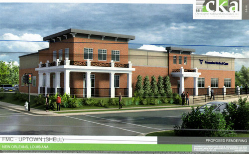 A rendering of a proposed new clinic at Louisiana and Freret streets. (via City of New Orleans)