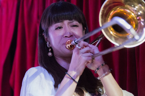 Haruka Kikuchi plays trombone with Cha Wa at the Maple Leaf Bar during a tribute show to pianist Steve Malinowski who died on Friday, June 17. (Zach Brien, UptownMessenger.com)