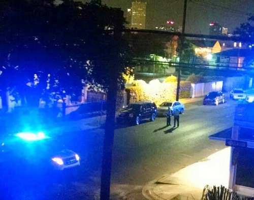 Police investigate reports of gunfire in the 2200 block of Prytania Street. (photo by Owen Courreges)