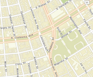 The 2900 block of Louisiana Avenue is between South Claiborne Avenue and Willow Street. (map via NOPD)