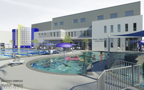A rendering by Mathes Brierre Architects of the expanded swimming area proposed for the Jewish Community Center. (via City of New Orleans)
