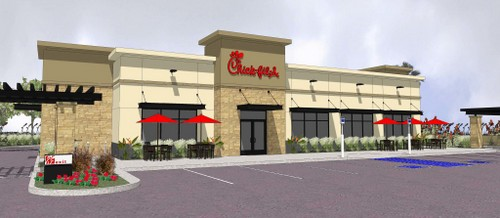 The rendering for one of Chick-Fil-A's newest locations in Nevada. The company has not confirmed the possibility of a location on South Claiborne Avenue. (via chickfila.com)