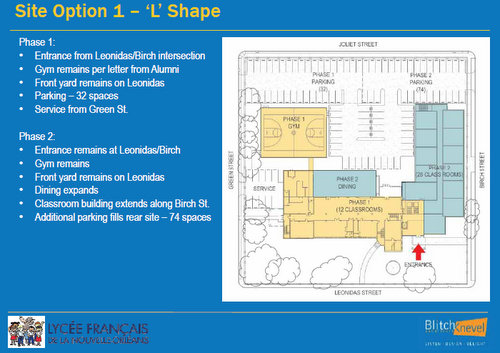 The current site plan for the Lycee Francais renovations of the Priestley campus in Carrollton. (Robert Morris, UptownMessenger.com)
