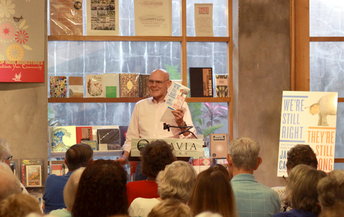 "James Carville touts his new book, ""We're Still Right, They're Still Wrong"" at Octavia Books on Friday evening. (Robert Morris, UptownMessenger.com)"