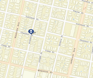 Thursday's robbery at Arabella and Chestnut. Friday's robbery at Octavia and Coliseum has not yet appeared on city crime maps. (map via NOPD)