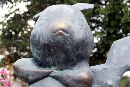 The #Pokemonument, photographed near Coliseum Square in early August, will be auctioned this Sunday. (Robert Morris, UptownMessenger.com)