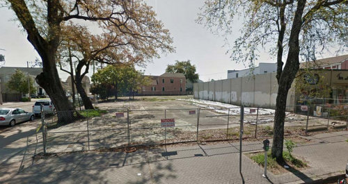 The corner of St. Charles Avenue and Melpomene Street, slated to become a temporary parking lot for Lula restaurant. (via City of New Orleans)