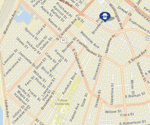 Robbery in the 3300 block of Audubon Street. The robbery on Hampson Street is not shown. (map via NOPD)