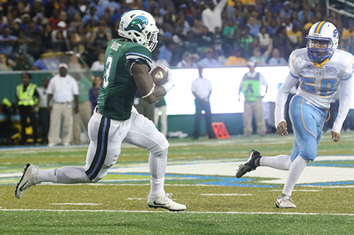 Tulane running back Sherman Badie returns a kick 85 yards for a touchdown in the first quarter. Tulane defeated Southern University 66 to 21 at their home opener at Yulman Stadium. (Zach Brien, UptownMessenger.com)