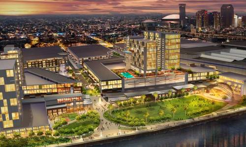 A rendering of the riverfront after the proposed expansion of the Ernest N. Morial Convention Center. (via mccno.com)