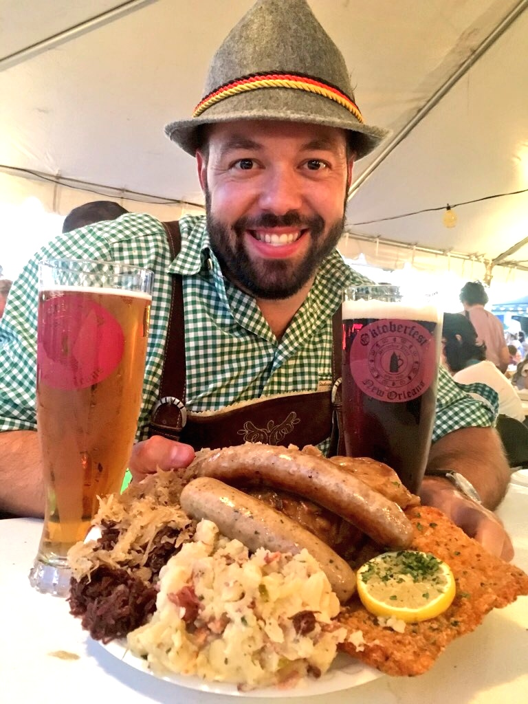 Matt Eckenhoff enjoying a German feast of Schnitzel, Bratwurst, German Pototo Salad, Braised Red Cabbage, Sauerkraut, and Lager. (Kristine Froeba)