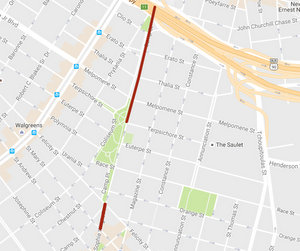 Upcoming road closures on Sophie Wright Place and Camp Street. (map by Uptown Messenger via Google)