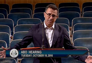 Powell Miller, an attorney for Verret's Lounge, questions the need for armed security guards before the city Alcohol Beverage Control board on Tuesday, Oct. 18. (via City of New Orleans)