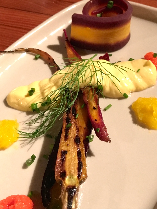 Braised, Poached and Pureed Carrots with Sweet Corn and Goat Cheese Mousseline (Kristine Froeba)