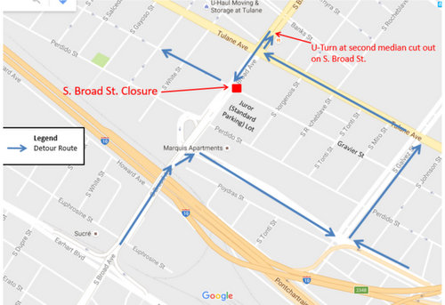 The first phase of lane closures on Soutjh Broad Street is expected to detour traffic around the Gravier Street intersection until Tuesday, Nov. 15. (map via City of New Orleans)