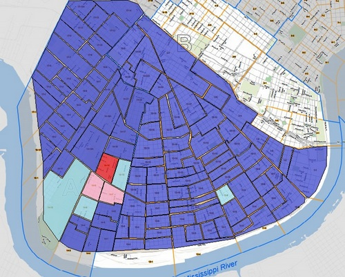 Blue precincts voted for Clinton, red for Trump. Lighter shades indicate margins of less than 10 points. (map by UptownMessenger.com, data source: sos.la.gov)